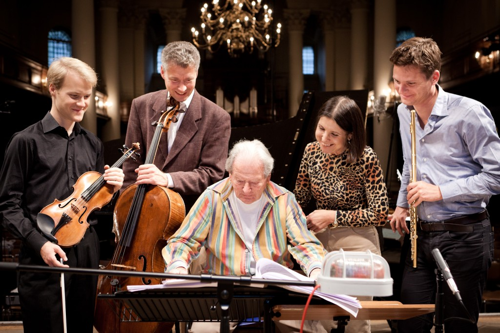 Maria Prinz with Sir Neville Marriner and musicians ((Flute, Violin and Cello) from the Vienna Philharmonic